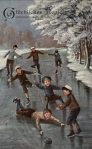 Boys Skating and Falling on the Ice